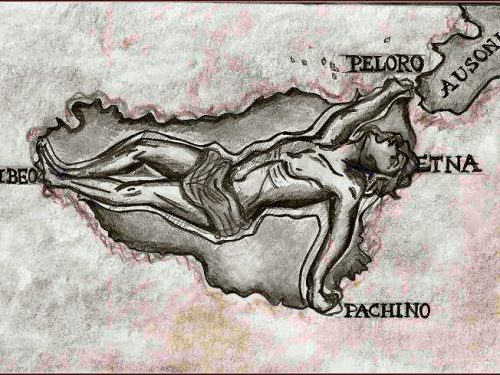 Tifeo, il gigante che sorregge la Sicilia, butta fuori fiamme dall'Etna e si agita per liberarsi